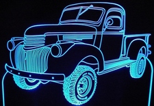 1942 Chevrolet Pickup Truck 4x4 Acrylic Lighted Edge Lit LED Sign / Light Up Plaque Chevy Full Size Made in USA