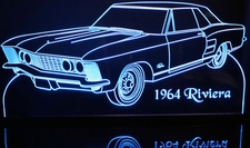 1964 Buick Riviera Acrylic Lighted Edge Lit LED Sign / Light Up Plaque Full Size Made in USA