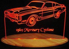 1969 Mercury Cyclone Acrylic Lighted Edge Lit LED Car Sign / Light Up Plaque 69