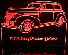 1939 Chevy Master Deluxe Acrylic Lighted Edge Lit LED Car Sign / Light Up Plaque Chevrolet