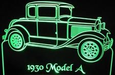 1930 Ford Model A RH Acrylic Lighted Edge Lit LED Car Sign / Light Up Plaque