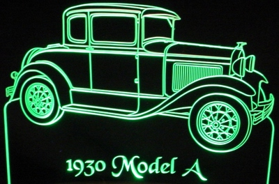 1930 Ford Model A RH Acrylic Lighted Edge Lit LED Sign / Light Up Plaque Full Size Made in USA
