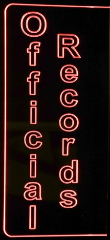 Official Records sign Acrylic Lighted Edge Lit LED Sign / Light Up Plaque Full Size Made in USA