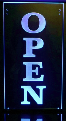 OPEN Hanging Sign Double Sided with inside black panel Acrylic Lighted Edge Lit LED Sign / Light Up Plaque Full Size Made in USA