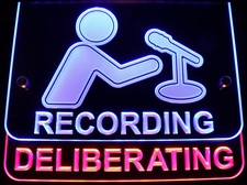 Recording Deliberating 2 Part Sign 2 colors Acrylic Lighted Edge Lit LED Sign / Light Up Plaque Full Size Made in USA