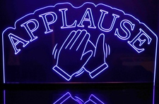 Applause with Hands clapping Acrylic Lighted Edge Lit LED Sign / Light Up Plaque Full Size Made in USA