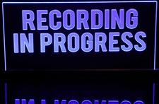 Recording In Progress Acrylic Lighted Edge Lit LED Sign / Light Up Plaque Full Size Made in USA