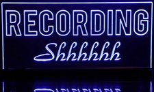 Recording Shhhhhh Acrylic Lighted Edge Lit LED Sign / Light Up Plaque Full Size Made in USA