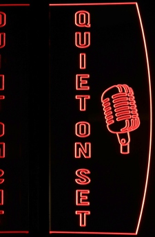 Quiet On Set with Mic Recording Acrylic Lighted Edge Lit LED Sign / Light Up Plaque Full Size Made in USA