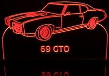 1969 Pontiac GTO Acrylic Lighted Edge Lit LED Car Sign / Light Up Plaque 69