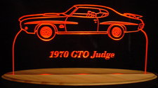 1970 Pontiac GTO Judge Acrylic Lighted Edge Lit LED Car Sign / Light Up Plaque 70