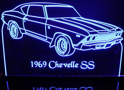 1969 Chevy Chevelle SS Acrylic Lighted Edge Lit LED Sign / Light Up Plaque Chevrolet Full Size Made in USA