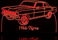 1966 Chevy Nova Canso Acrylic Lighted Edge Lit LED Sign / Light Up Plaque Full Size Made in USA
