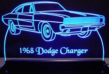 1968 Dodge Charger Acrylic Lighted Edge Lit LED Sign / Light Up Plaque Full Size Made in USA