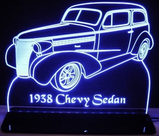 1938 Chevy Acrylic Lighted Edge Lit LED Sign / Light Up Plaque Chevrolet Full Size Made in USA