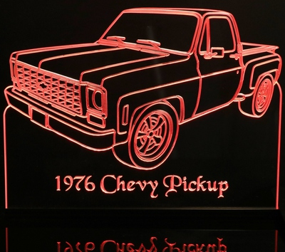 1976 Chevy C10 Pickup Truck Acrylic Lighted Edge Lit LED Sign / Light Up Plaque Chevrolet