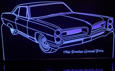 1966 Pontiac Grand Prix Acrylic Lighted Edge Lit LED Car Sign / Light Up Plaque