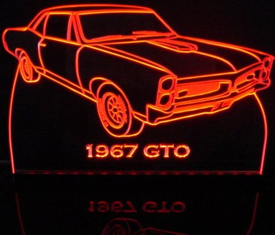 1967 GTO Acrylic Lighted Edge Lit LED Sign / Light Up Plaque Full Size Made in USA