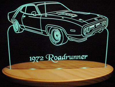 1972 Plymouth Roadrunner RH Acrylic Lighted Edge Lit LED Car Sign / Light Up Plaque