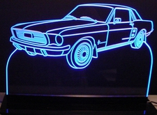 1967 Ford Mustang Acrylic Lighted Edge Lit LED Car Sign / Light Up Plaque