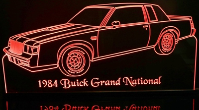 1984 Grand National Acrylic Lighted Edge Lit LED Sign / Light Up Plaque Full Size Made in USA