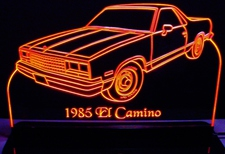1985 Chevy El Camino Acrylic Lighted Edge Lit LED Car Sign / Light Up Plaque Chevrolet