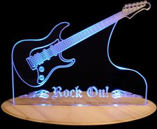 Guitar Acrylic Lighted Edge Lid Led Sign / Light Up Plaque