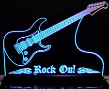 Guitar Rock On Music Band Acrylic Lighted Edge Lit LED Sign / Light Up Plaque Full Size Made in USA