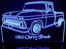 1963 Chevy Stepside Pickup Truck Acrylic Lighted Edge Lit LED Sign / Light Up Plaque Chevrolet