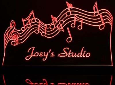 Music Scale Acrylic Lighted Edge Lit LED Sign / Light Up