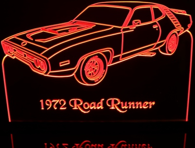 1972 Plymouth Roadrunner LH Acrylic Lighted Edge Lit LED Car Sign / Light Up Plaque
