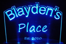 Blayden's Blaydens Place Room Den Office You Name It Acrylic Lighted Edge Lit LED Sign / Light Up Plaque Full Size USA Original