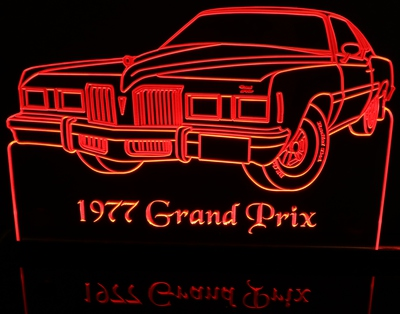 1977 Pontiac Grand Prix Acrylic Lighted Edge Lit LED Car Sign / Light Up Plaque