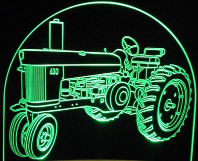 1961 1960 John Deere Tractor 630 Acrylic Lighted Edge Lit LED Farm Equipment Sign / Light Up Plaque