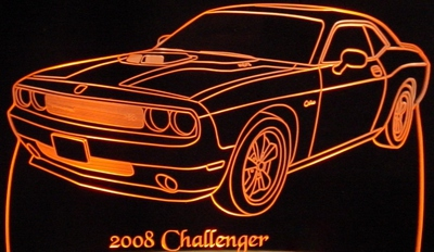 2008 Challenger RT Acrylic Lighted Edge Lit LED Sign / Light Up Plaque Full Size USA Original