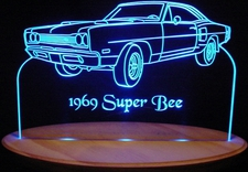 1969 Dodge Super Bee Acrylic Lighted Edge Lit LED Car Sign / Light Up Plaque 69