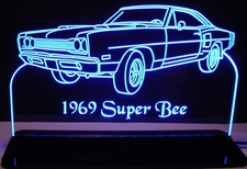 1969 Super Bee Acrylic Lighted Edge Lit LED Sign / Light Up Plaque Full Size Made in USA