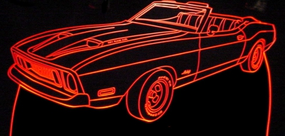1973 Ford Mustang Convertible with hood scoops Acrylic Lighted Edge Lit LED Car Sign / Light Up Plaque