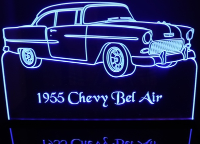 1955 Chevy Belair Chevrolet Bel Air 2 Door Acrylic Lighted Edge Lit LED Car Sign / Light Up Plaque