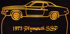 1973 Plymouth Satellite Sebring Acrylic Lighted Edge Lit LED Car Sign / Light Up Plaque 73