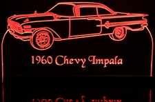 1960 Chevy Impala Acrylic Lighted Edge Lit LED Car Sign / Light Up Plaque 60 Chevrolet