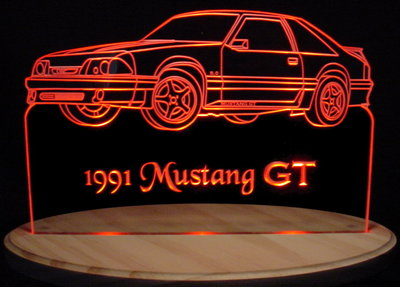 1991 Mustang GT Acrylic Lighted Edge Lit LED Car Sign / Light Up Plaque