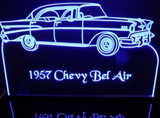 1957 Chevy Belair Acrylic Lighted Edge Lit LED Car Sign / Light Up Plaque Chevrolet