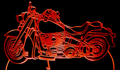 2002 Motorcycle Bike Fat Boy Acrylic Lighted Edge Lit LED Sign / Light Up Plaque 02