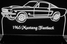1965 Mustang Fastback with scoop Acrylic Lighted Edge Lit LED Sign / Light Up Plaque Full Size Made in USA