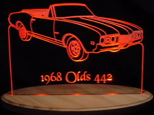 1968 Oldsmobile 442 Convertible Acrylic Lighted Edge Lit LED Car Sign / Light Up Plaque