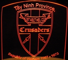 Vietnam Veterans Tayninh Province Crusaders Acrylic Lighted Edge Lit LED Sign / Light Up Plaque Full Size Made in USA
