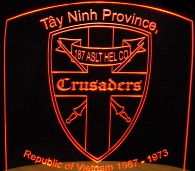 Vietnam Veterans Tayninh Province Crusaders Acrylic Lighted Edge Lit LED Sign / Light Up Plaque