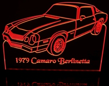 1979 Camaro Berlinetta Acrylic Lighted Edge Lit LED Car Sign / Light Up Plaque