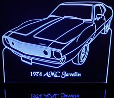 1974 AMC Javelin Acrylic Lighted Edge Lit LED Sign / Light Up Plaque Full Size Made in USA